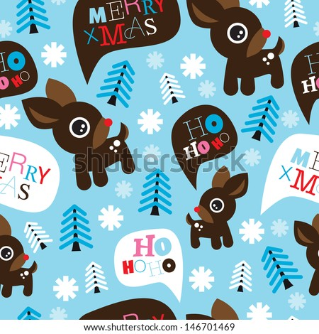 Seamless adorable reindeer and merry christmas typography illustration background pattern in vector - stock vector