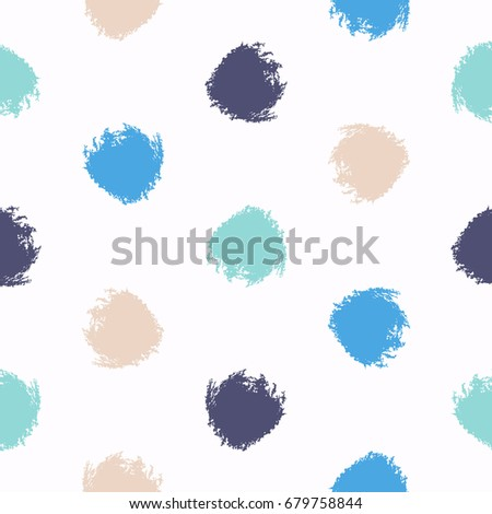 Seamless Aesthetic Brush Dot Pattern Abstract Minimalistic Ornament With Elements In Trendy Color Simple