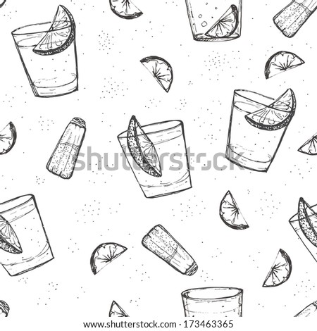 Seamless alcohol drinks vector pattern. Sketched tequila with lime and salt. - stock vector