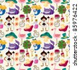 seamless Alice in Wonderland pattern - stock vector
