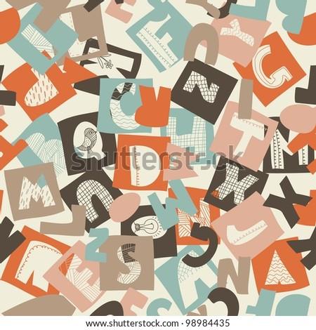 seamless alphabet pattern - stock vector