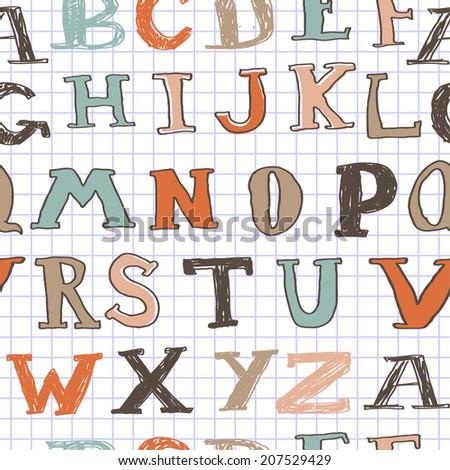 seamless alphabet pattern on notebook paper - stock vector