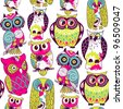 Seamless and colourful owl pattern. - stock vector
