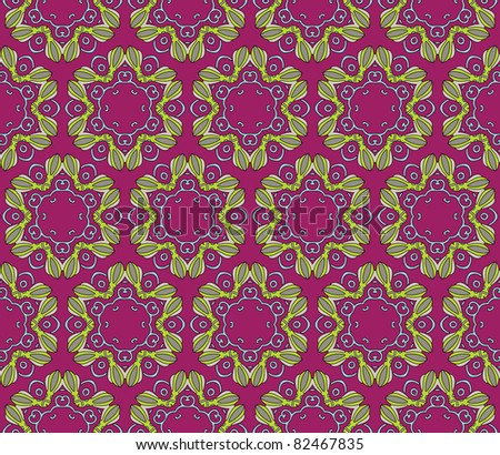 Seamless and elegant Baroque pattern with colorful swirls on a dark purple background - stock vector