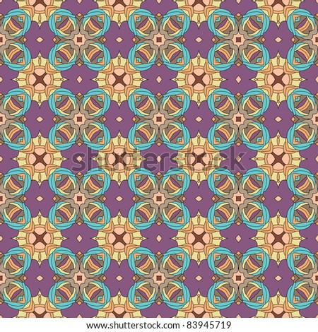 Seamless and elegant Baroque pattern with flowers in brown, orange, purple, blue, green - stock vector