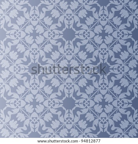 Seamless and elegant Baroque pattern with flowers in shades of grey - stock vector