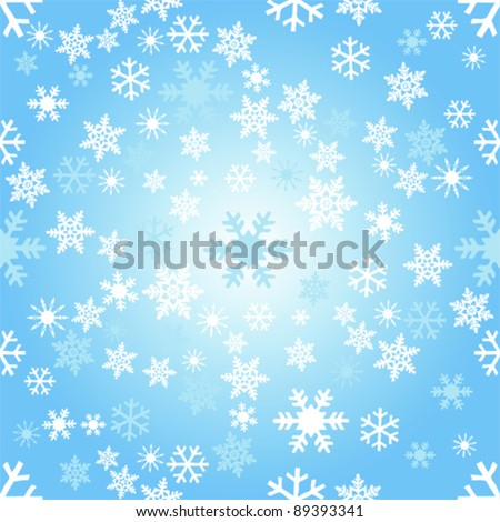 Seamless and tile-able  blue snowflake vector image - stock vector