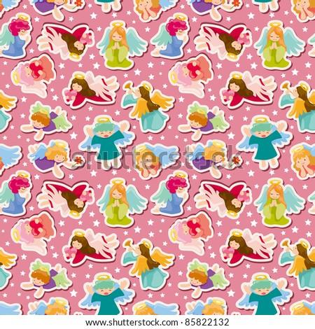 seamless angel pattern - stock vector