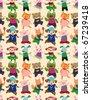 seamless animal dance pattern - stock photo
