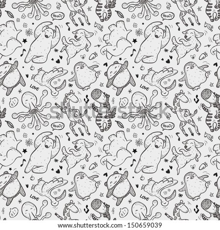 seamless animal dancing pattern - stock vector