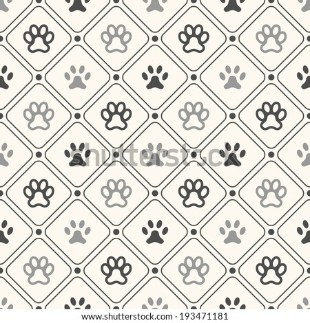 Seamless animal pattern of paw footprint in frame and polka dot. Endless texture can be used for printing onto fabric, web page background and paper or invitation. Dog style. White and black colors. - stock vector