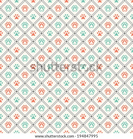 Seamless animal pattern of paw footprint in frame and polka dot. Endless texture can be used for printing onto fabric, web page background and paper or invitation. Dog style. Red and blue colors. - stock vector