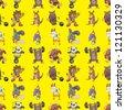 seamless animal sport pattern,cartoon vector illustration - stock vector
