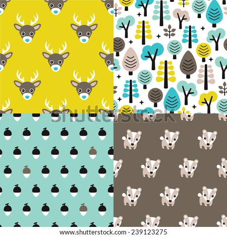 Seamless animals badger deer scandinavian style woodland theme kids background pattern for boys in vector - stock vector