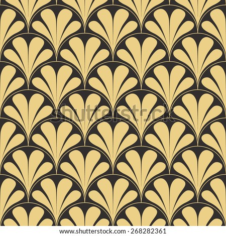 Seamless antique palette retro art deco waves pattern vector - stock vector