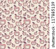 Seamless apples pattern. Vector cute texture. Childish pink print - stock vector