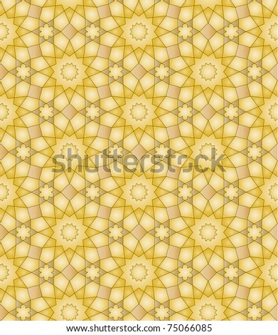 Seamless arabic background with flowers and stars - stock vector