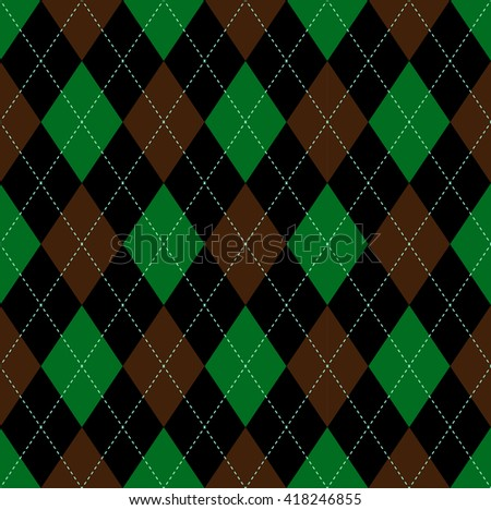 Seamless argyle pattern in lime green, dark brownish red & black with light green stitch.