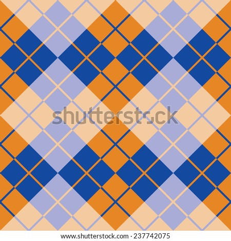 Seamless argyle pattern in orange and blue. - stock vector