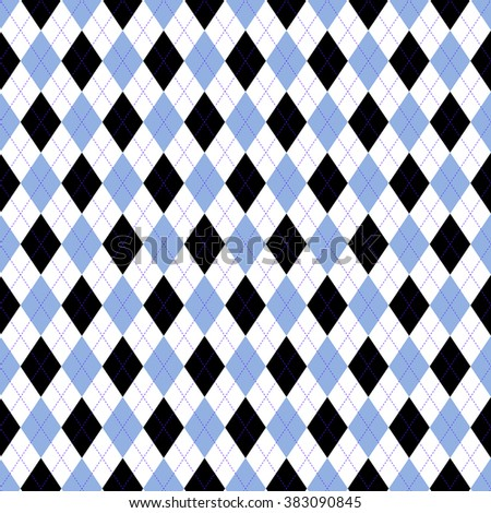 Seamless argyle pattern in pale cornflower blue, black and white with violet stitch. Nautical palette/marine mood/naval theme. Classic textile design: socks, sweaters, jerseys. Team sports uniforms.  - stock vector