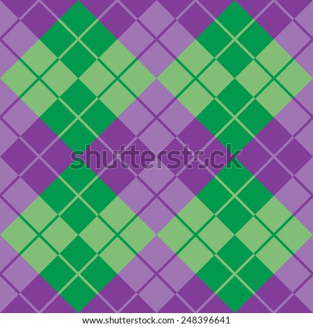 Seamless argyle pattern in purple and green. - stock vector
