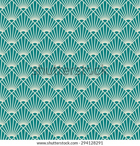 seamless art deco sunburst pattern.  - stock vector