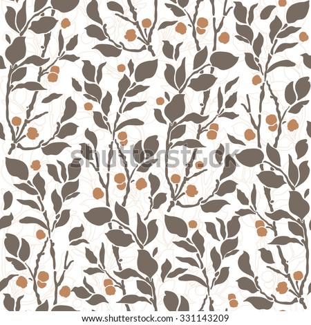 seamless Art Deco vintage pattern with sprigs and berries - stock vector