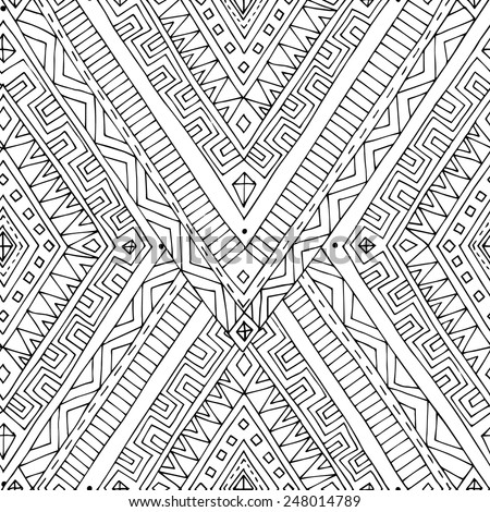 Seamless asian ethnic floral retro doodle black and white background pattern in vector. Henna paisley mehndi doodles design tribal black and white pattern. Used clipping mask for easy editing. - stock vector
