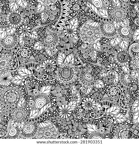 Seamless asian ethnic floral retro doodle black and white background pattern in vector. Henna paisley mehndi doodles design tribal pattern. Used clipping mask for easy editing. - stock vector