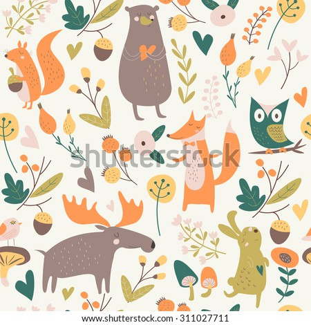 Seamless autumn forest background with cute bear, hare, squirrel, elk, owl, fox, flowers, mushrooms, birds and hearts in cartoon style - stock vector