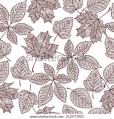 seamless autumn leaves - stock vector