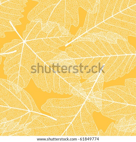 Seamless autumn leaves pattern - stock vector