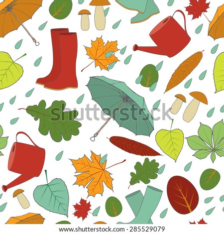 Seamless autumn pattern: Falling Leaves, rainy autumn, rubber boots and umbrella. Editable Vector illustraton - stock vector