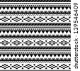 Seamless aztec pattern in black and white 3 - stock vector