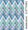 Seamless aztec pattern in blue tints - stock vector