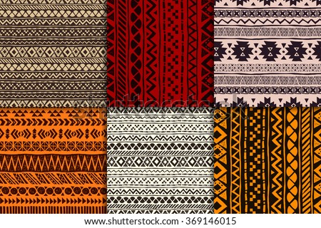 Seamless aztec pattern set, vector illustration. Six hand drawn backgrounds  - stock vector