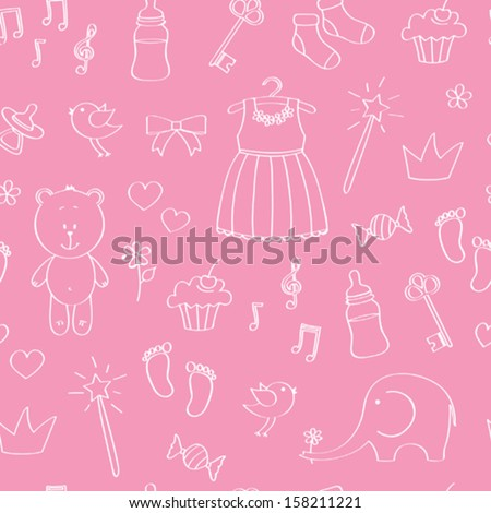 Seamless baby background for girl - stock vector