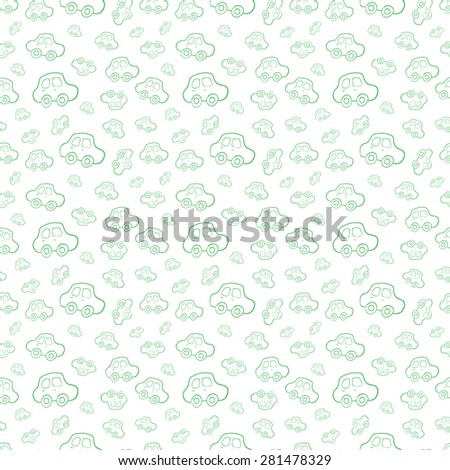 Seamless baby background with cars - stock vector