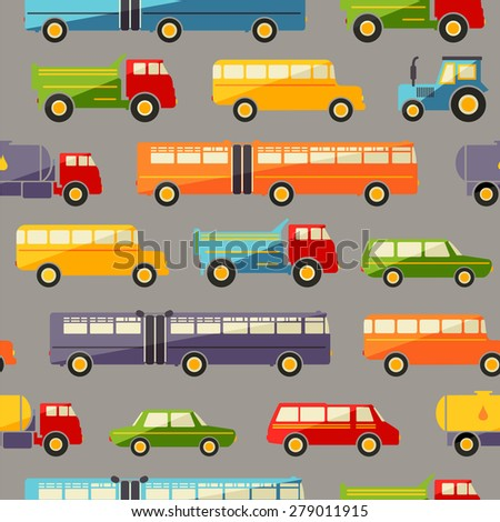 Seamless baby background with colorful retro flat car icons on dark
