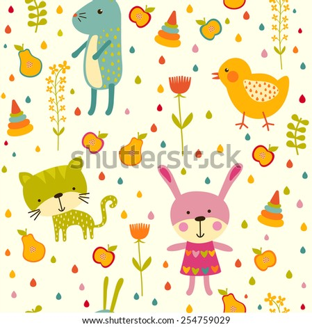 Seamless baby background with egg, chicken and rabbit.  - stock vector