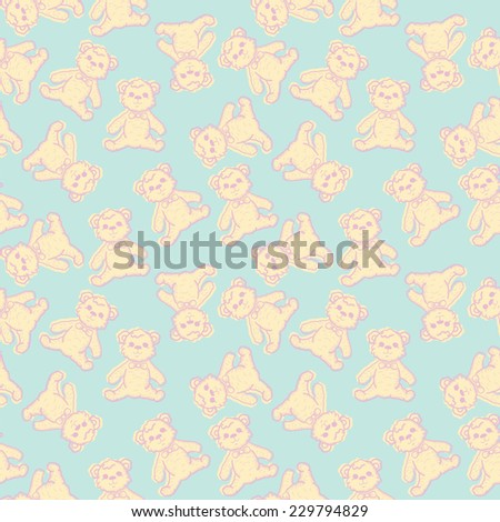 Seamless Baby Background with hand drawn teddy bear. Vector illustration - stock vector