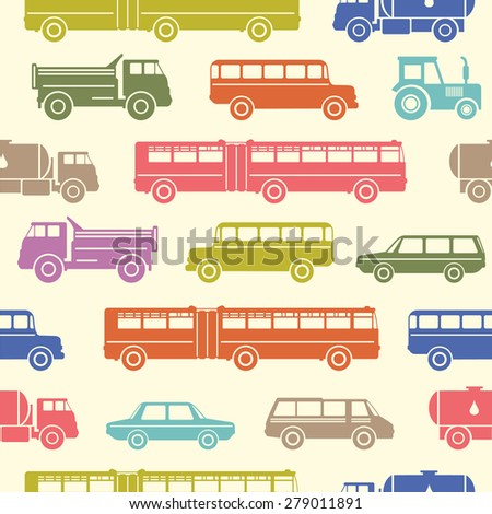 Seamless baby background with pastel retro flat car icons