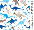 Seamless baby boys blue dinosaur types illustration background pattern in vector  - stock vector