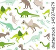 Seamless baby dinosaur animal illustration background boy pattern in vector - stock vector