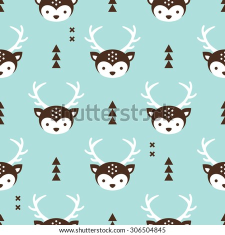 Seamless baby geometric reindeer illustration cute winter kids christmas theme wrapping paper design background pattern in vector - stock vector