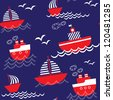 Seamless baby nautical pattern. Vector illustration - stock photo