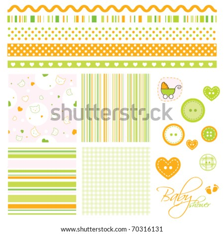 Seamless baby patterns with cats  and lines. Lovely templates for scrapbook, craft, home projects, invitations, baby shower, party announcements. Nice modern decorative textures and design elements  - stock vector