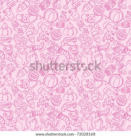 seamless baby toy pattern - stock vector