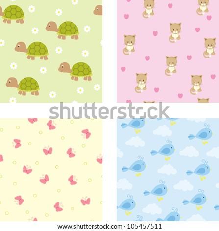 Seamless baby wallpaper - stock vector