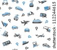 Seamless backdrop transport icons - wrapping paper, 10eps - stock vector